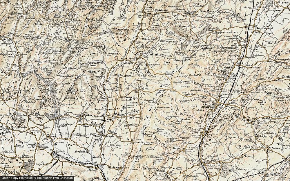 Old Map of Historic Map covering Adstone Hill in 1902-1903