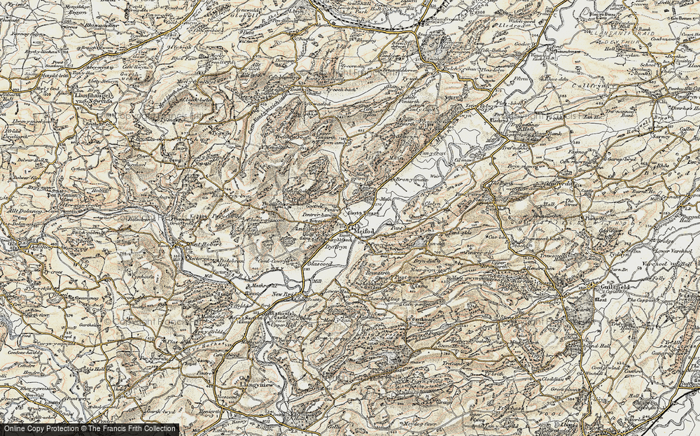 Old Map of Historic Map covering Alltfawr in 1902-1903