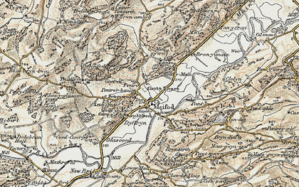 Old map of Meifod in 1902-1903