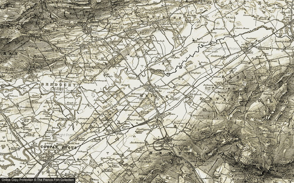 Old Map of Historic Map covering Balmacron in 1907-1908