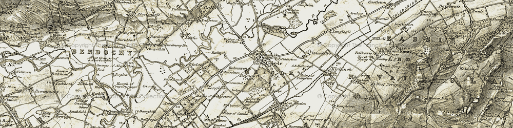 Old map of Meigle in 1907-1908