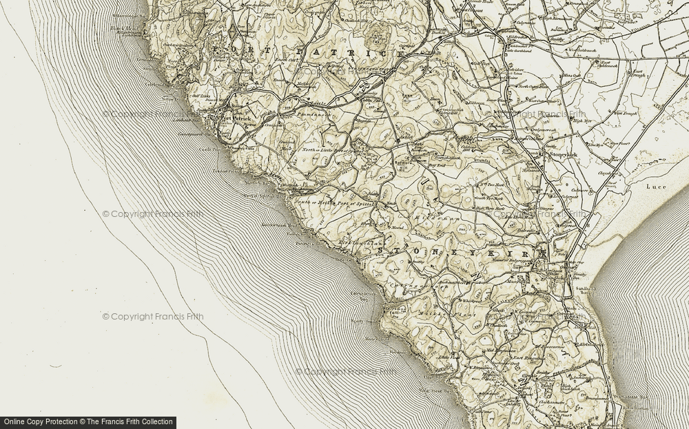 Old Map of Historic Map covering Awhirk in 1905