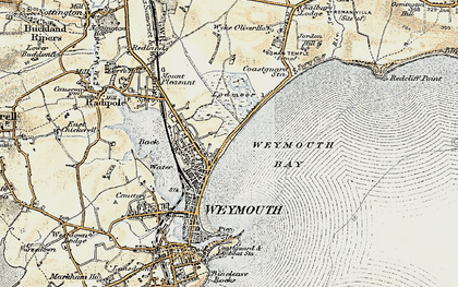 Old map of Weymouth Bay in 1899