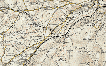 Old map of West Okement River in 1899-1900