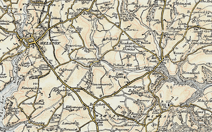 Old map of Mellangoose in 1900