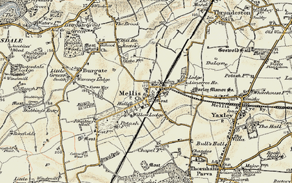 Old map of Yaxley Manor House in 1901