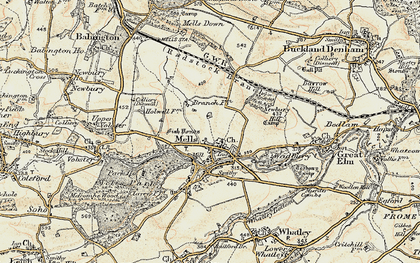 Old map of Mells in 1898-1899