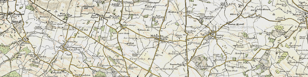 Old map of Melsonby in 1903-1904