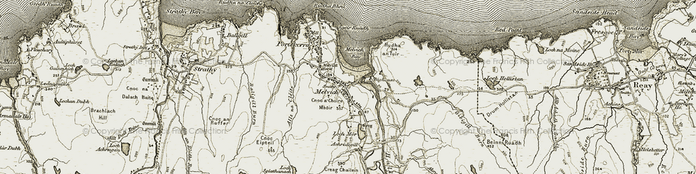 Old map of Akran Burn in 1910-1912