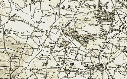 Old map of Wester Cardno in 1909-1910