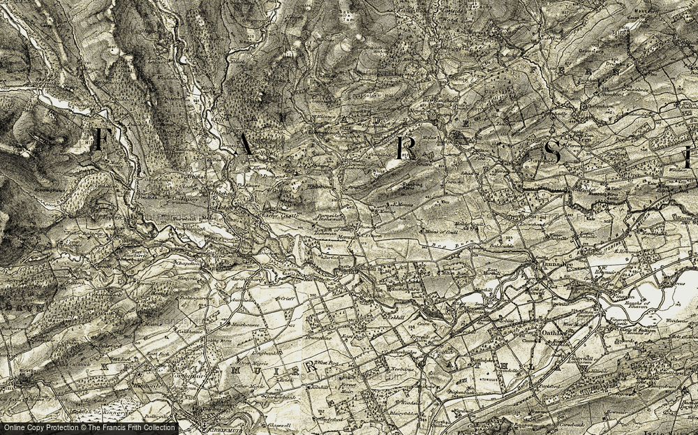 Old Map of Historic Map covering Auchleish in 1907-1908