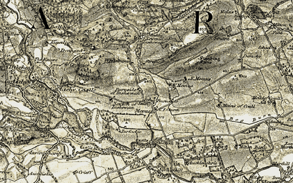 Old map of White Burn in 1907-1908