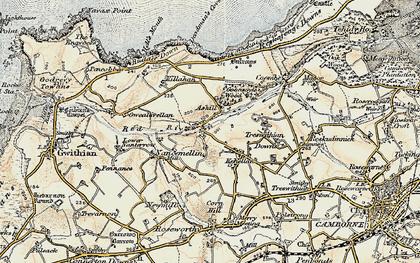 Old map of Menadarva in 1900