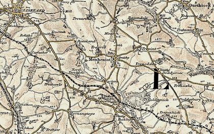 Old map of Menheniot in 1900