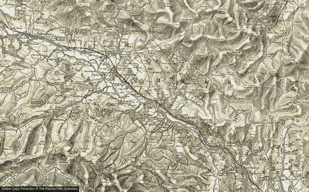 Old Map of Historic Map covering Auchens in 1904-1905
