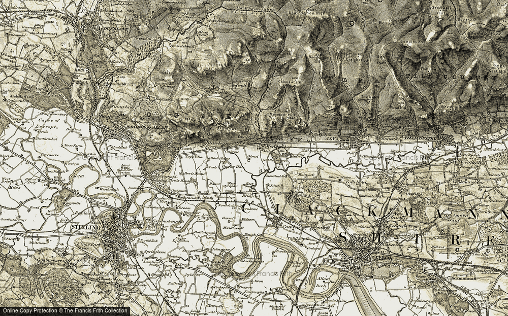 Old Map of Menstrie, 1904-1907 in 1904-1907