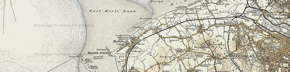 Old map of Meols in 1902-1903