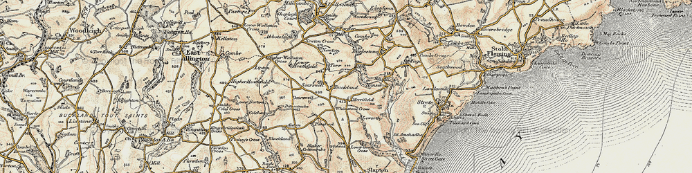 Old map of Whitestone Cross in 1899
