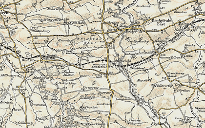 Old map of Langaton in 1900