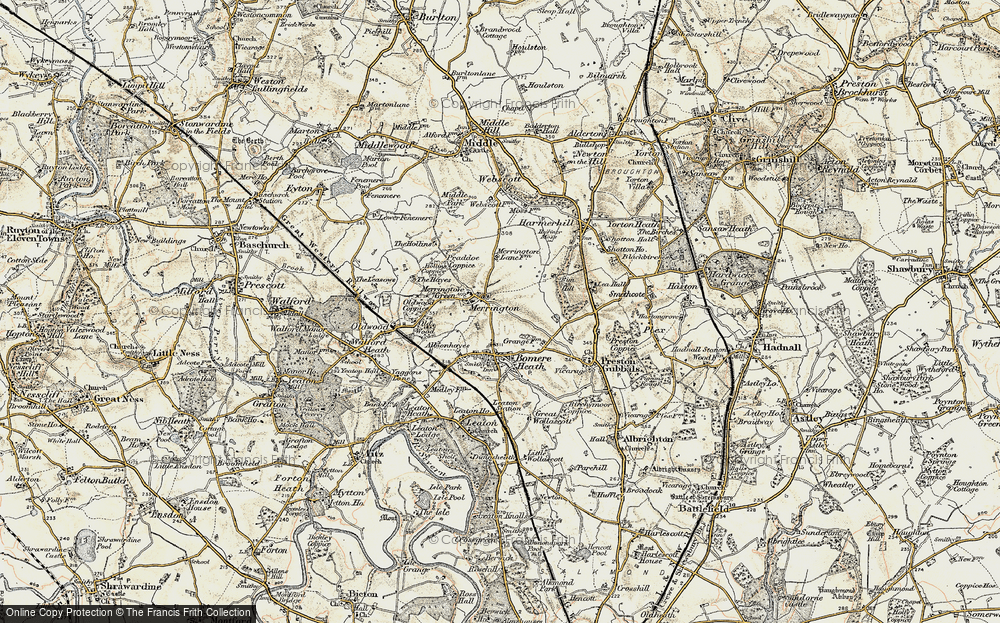 Old Map of Merrington, 1902 in 1902