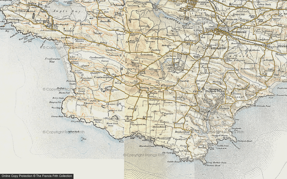 Old Map of Historic Map covering Axton Hill in 1901-1912