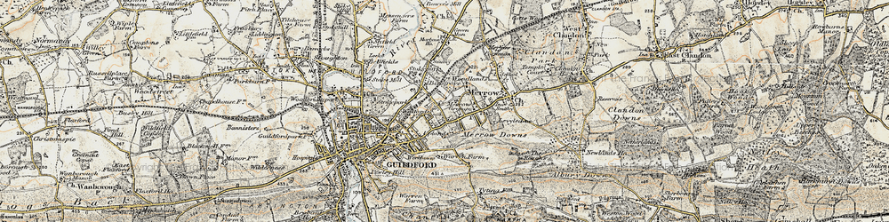 Old map of Merrow in 1898-1909