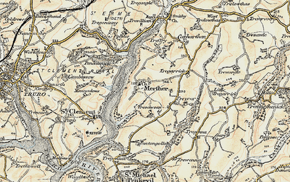 Old map of Merther in 1900