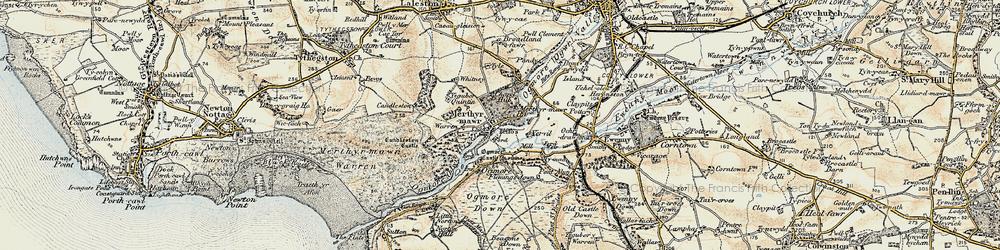 Old map of Merthyr Mawr in 1900-1901
