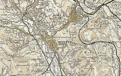 Old map of Merthyr Tydfil in 1900