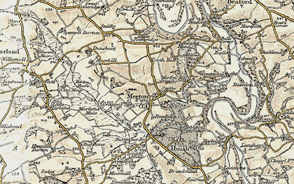 Old map of Merton Mill in 1899-1900