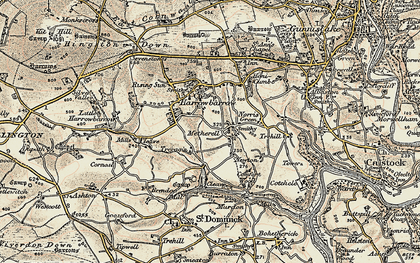 Old map of Metherell in 1899-1900