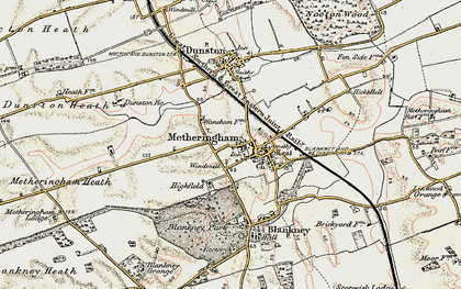 Old map of Metheringham in 1902-1903
