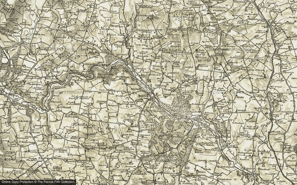 Old Map of Historic Map covering Auchencrieve in 1909-1910