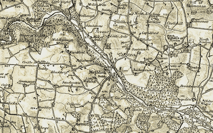 Old map of Auchencrieve in 1909-1910