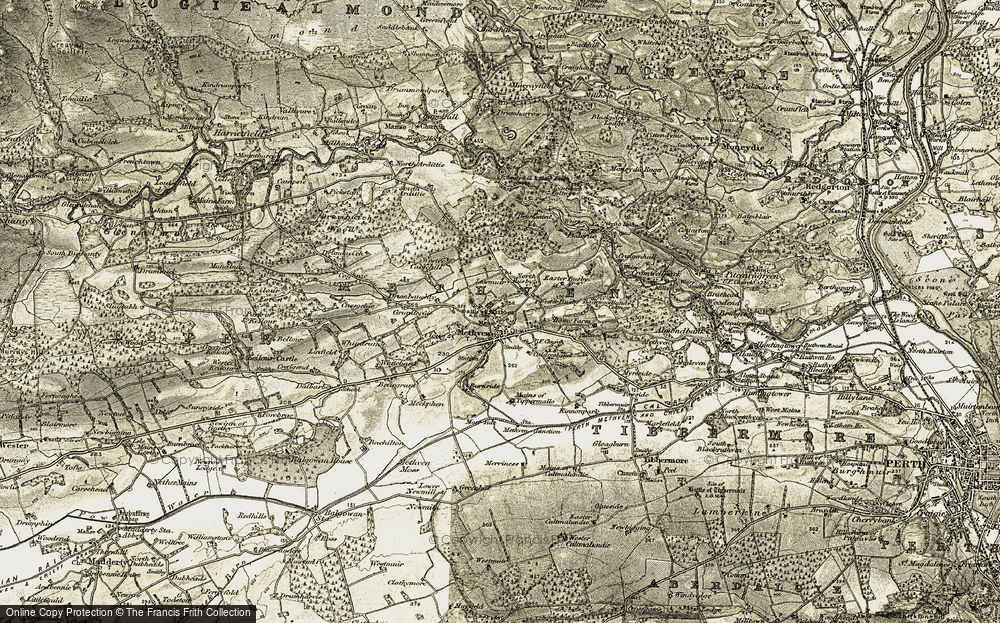 Old Map of Historic Map covering Lawmuir in 1907-1908