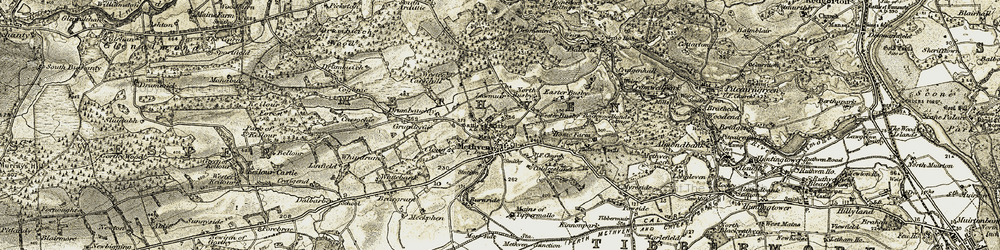 Old map of Lawmuir in 1907-1908