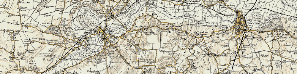 Old map of Mettingham in 1901-1902