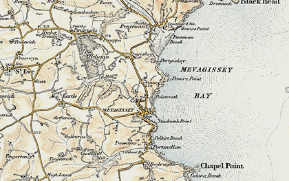 Old map of Mevagissey in 1900