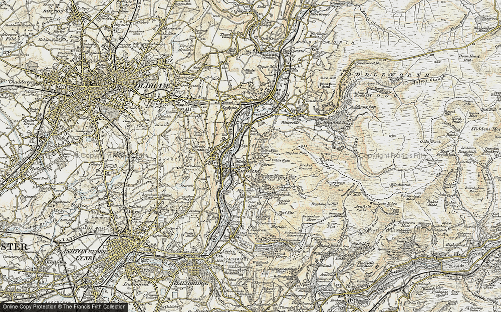 Old Map of Historic Map covering Abraham's Chair in 1903