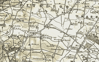 Old map of Whitewell in 1909-1910