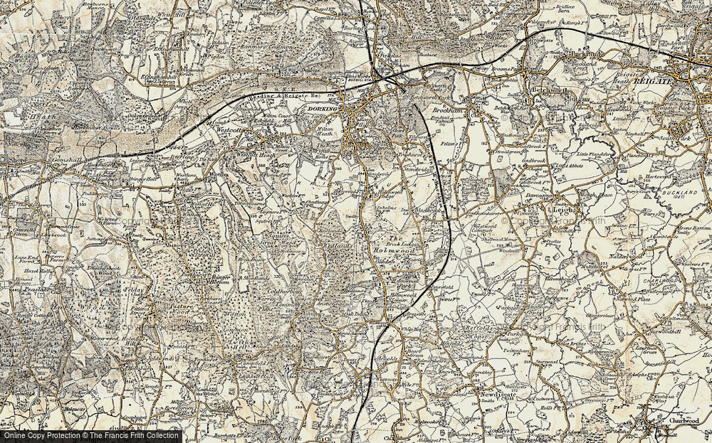 Old Map of Historic Map covering Abinger Forest in 1898-1909