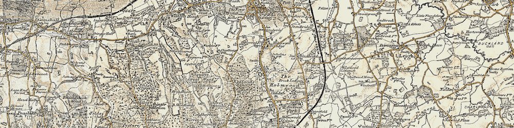 Old map of Abinger Forest in 1898-1909