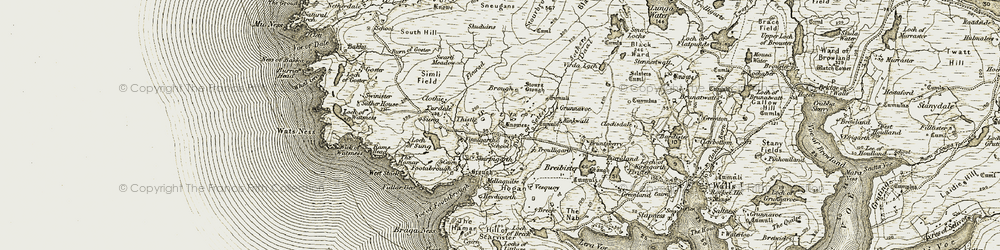 Old map of Annifirth in 1911-1912