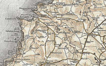 Old map of Middle Crackington in 1900