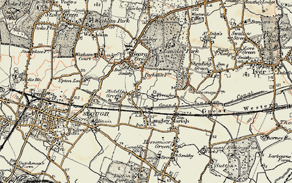 Old map of Middle Green in 1897-1909