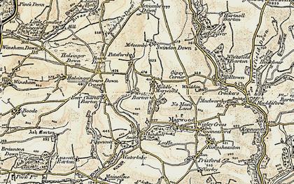 Old map of Westcott Barton in 1900