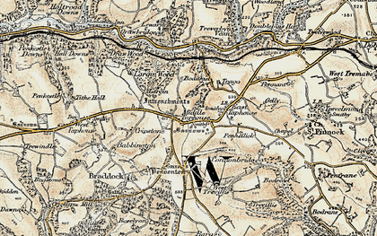 Old map of Middle Taphouse in 1900