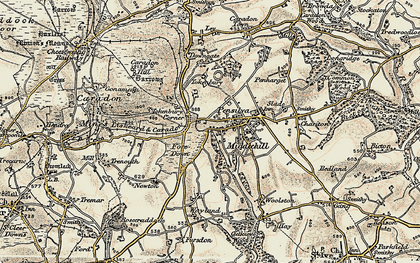 Old map of Middlehill in 1900