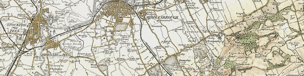 Old map of Middlesbrough in 1903-1904