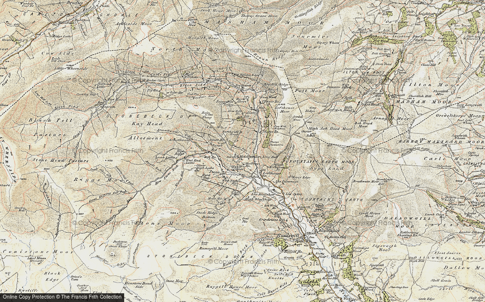 Old Map of Historic Map covering Thwaite Ho in 1904